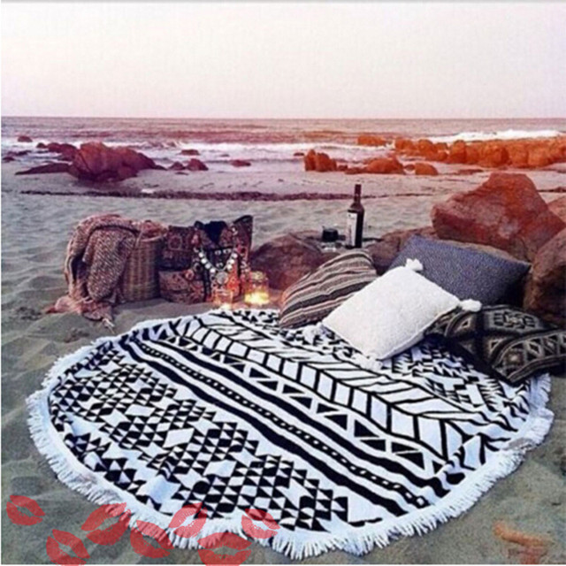 Real Microfiber Round Beach Towels Sport Scarf Bohemian Circle Serviette De Plage Toalla Playa Swimming Bath Towel With Tassel