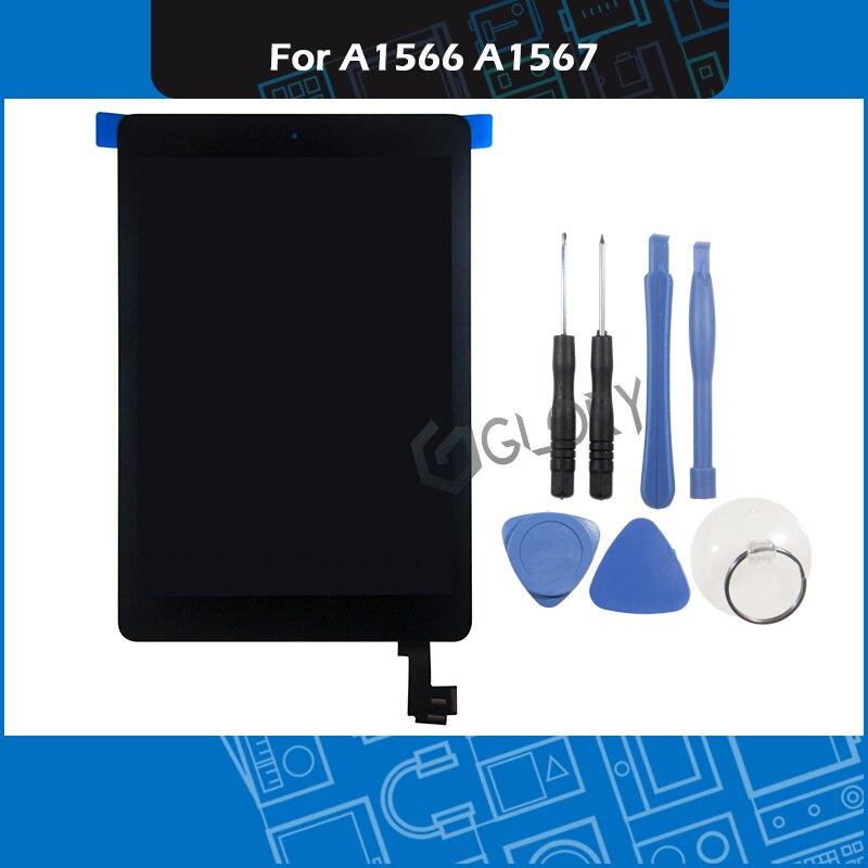 Полный новый A1566 A1567 ЖК дисплей Digitizer Ассамблеи для iPad Air 2 ЖК дисплей Экран сборки Дисплей Сенсорный экран Замена черный, белый цвет