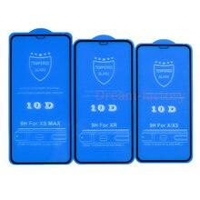 100 pçs 10d vidro temperado protetor de tela para iphone 12 mini 11 pro max 6 6s 7 8 plus x xs max xr livre dhl