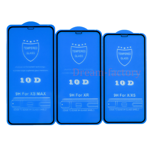 100pcs 10D Tempered Glass Screen Protector for iPhone 12 Mini 11 Pro Max 6 6s 7 8 Plus X Xs Max Xr free DHL