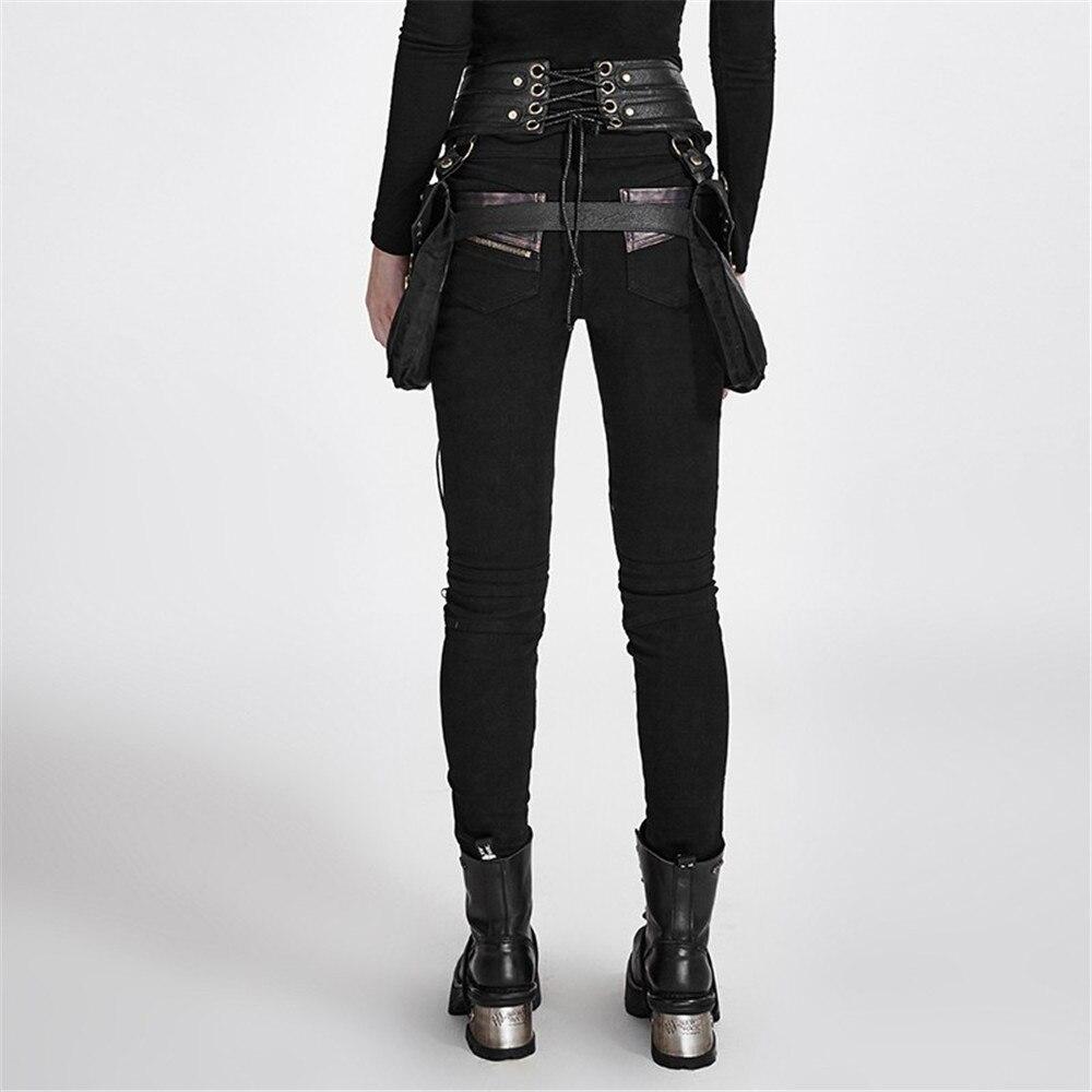 Rock Crayon Black Steampunk Du Cuir Moto Pantalons Pu Femmes Près Serré Rivets Victoruan Pantalon Corps Maigre De Coutures En AjLR354
