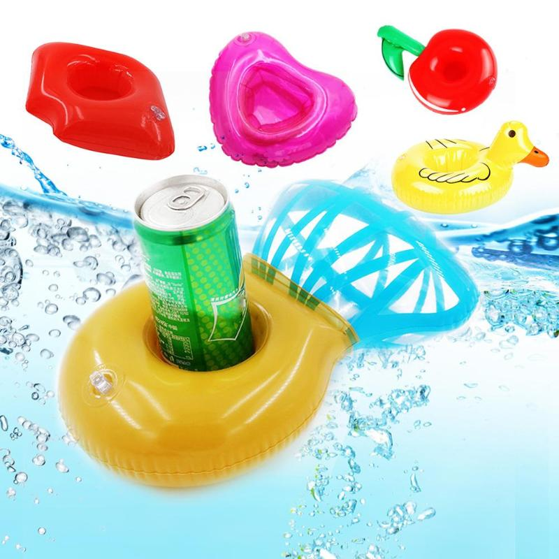 Practical Inflatable PVC Drink Holder Floating Swimming Pool Bathing Beach Party Kids Sw ...
