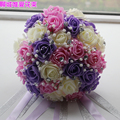 2017 Bridesmaid Wedding Bouquet New Cheap Ivory&Pink&Purple Wedding Flowers Bridal Bouquets Artificial Bridal Bouquet Rose