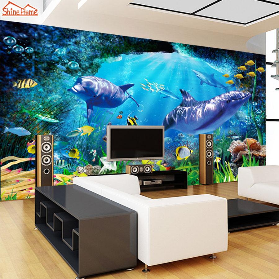 ShineHome-Cartoon Undersea SeaWorld Fish Shell Wallpaper 3d Wall Paper Livingroom Mural Rolls Kindergarten Child kid Bedroom Art