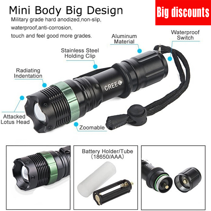 Hot Sell Led 3800lumens Aluminum Zoom Flashlights Torches Light Lamps For Aaa Or 18650 Rechargeable Battery 3 Modes Linterna Led Various Styles