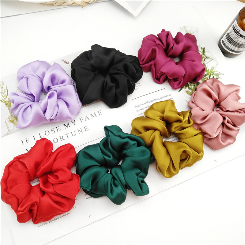 New Arrival Fashion Women Lovely Satin Hair Bands Bright Color Hair Scrunchies Girl's Hair Tie  Accessories Ponytail Holder