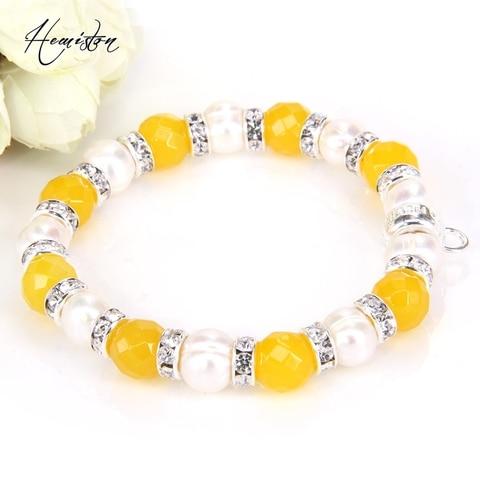 Купить бусины из желтого оникса томас пресноводный жемчуг стразы браслет