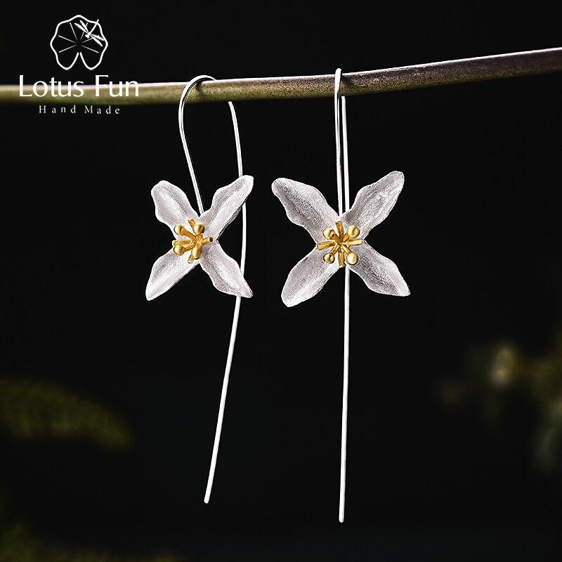Lotus Spaß Echt 925 Sterling Silber Natürliche Handgemachte Feine Schmuck Vintage Poetische Kleeblatt Mode Tropfen Ohrringe für Frauen Brincos