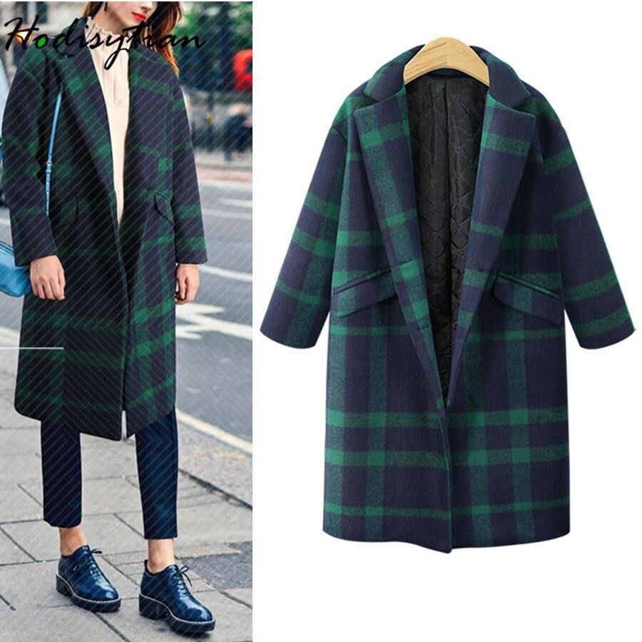 Hodisytian Hiver Mode Femmes Plaid Laine Mélanges Manteau Casual Coton Vérifier Épais Cardigan En Cachemire Femme Pardessus Plus La Taille 4XL