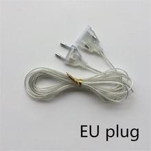 3M Extender Transparent Wire EU plug 220V for LED String Christmas Lights Garden Home outdoor Garland Party Decoration