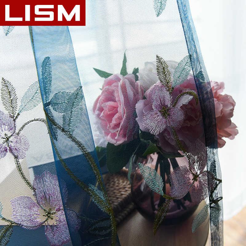 ปักดอกไม้ Tulle SHEER ม่านสำหรับห้องนั่งเล่นห้องนอนห้องครัวหน้าต่าง Pastoral Tulle ผ้าม่าน Voile ผ้า LISM