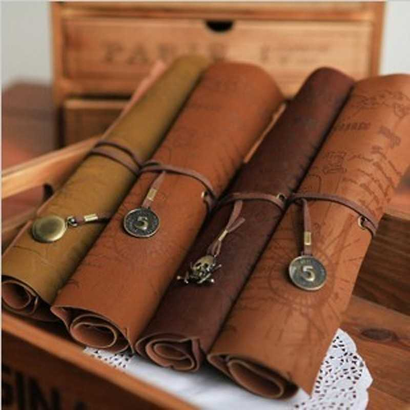 Vintage Retro Treasure Map Luxury Roll Leather Make Up PU Cosmetic Pen Pencil Case Pouch Purse Bag for School 5 colors pu retro vintage simple women pencil pen case pocket cosmetic makeup bag pouch handbag for women free shipping y1