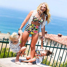 2017 Summer Family Match Swimsuit Mother and Daughter Floral Bikini Set Toddler Kids Swimming Bathing Suit High Waist Swimming