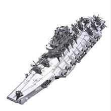 Plan liaoning CV 16 boat silver color 3D DIY laser cutting model educational diy toys Jigsaw