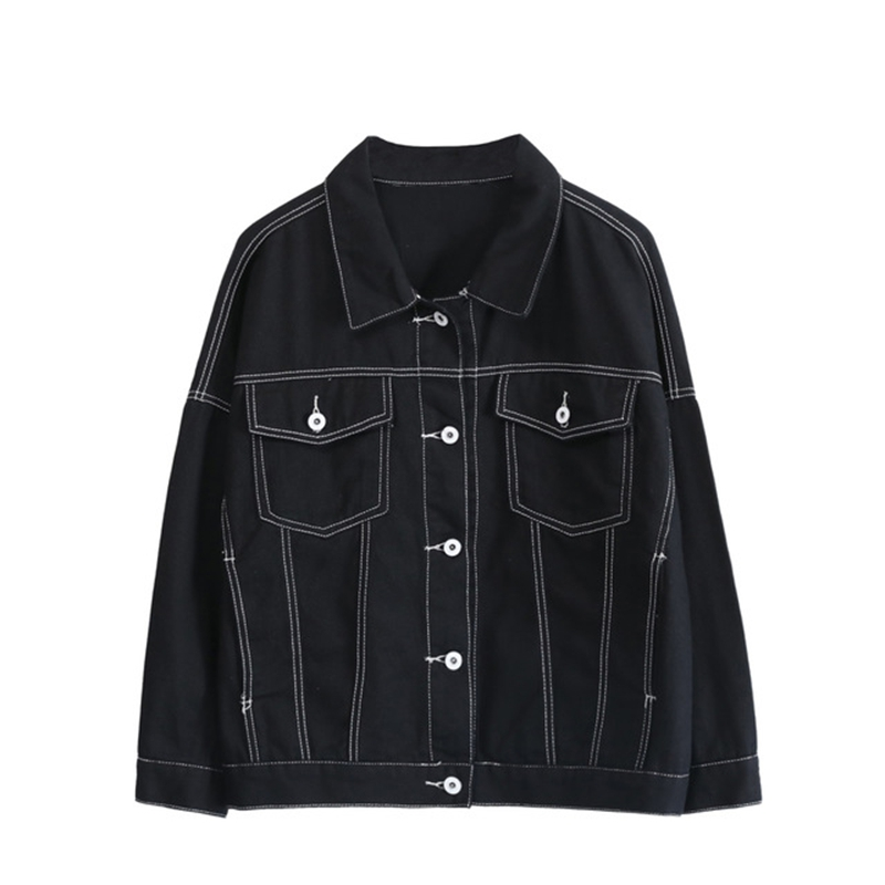 Spring fashion denim jacket women solid color ladies outerwear tops plus size 4xl 2019 new arrival elegant female jacket tops in Jackets from Women 39 s Clothing