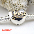 Fits Pandora Charms Bracelets Heart of Love Clip Beads With 14K Real Gold  925 Sterling Silver Jewelr Free Shipping