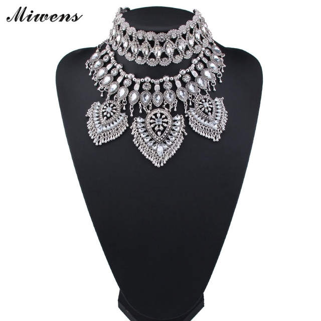 Miwens New Design Fashion DIY Maxi Statement Necklace Miwens 2017 Crystal Pendant Beads Tassel Necklace Women Jewelry NL192