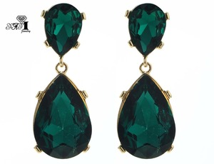 YaYi Jewelry New Green Glass Rhinestone Dangle Crystal Earring Women's Fashion Ancient Gold Color Gem Earrings Gift 1186(China)