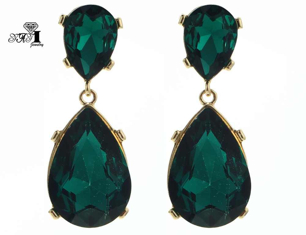 Yayi Perhiasan Baru Hijau Kaca Berlian Buatan Dangle Anting-Anting Kristal Wanita Modis Warna Emas Kuno Anting-Anting Permata Hadiah 1186