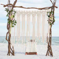 1*1.15m Boho Wedding Backdrop Party Photo Booth Macrame Cotton Rope Tassel Curtain for Home Room Wall Hanging Decoration