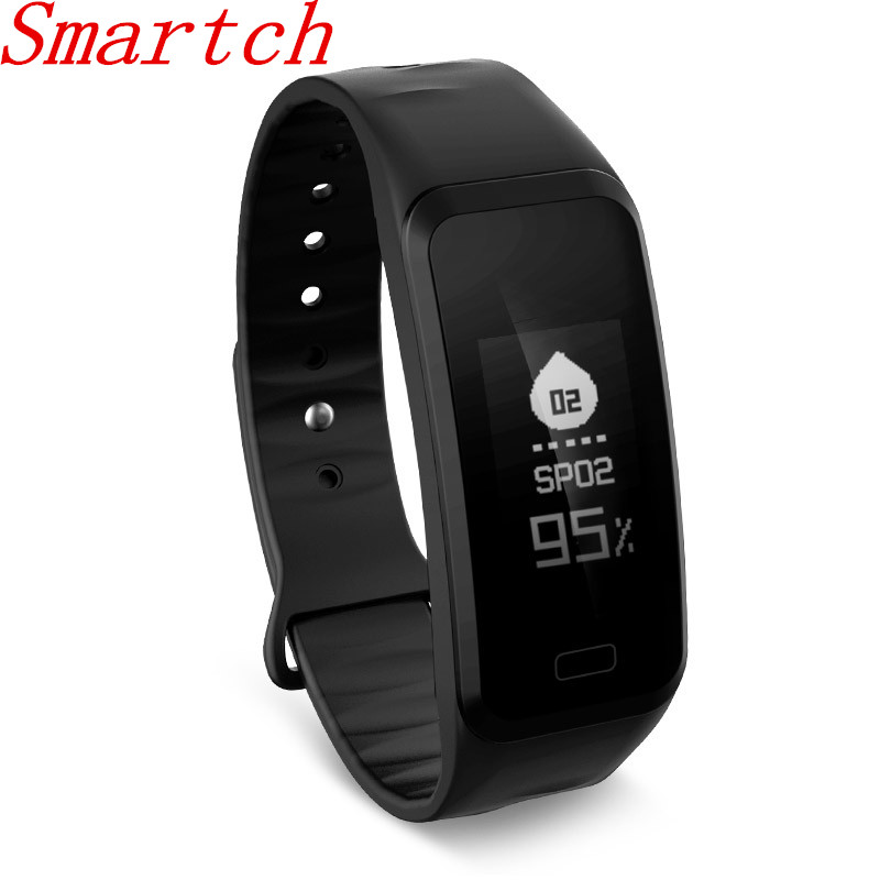 Smartch R1 Bluetooth Smart Bracelet Waterproof Fitness Tracker Heart Rate Monitor Smart Wristband Band for Android