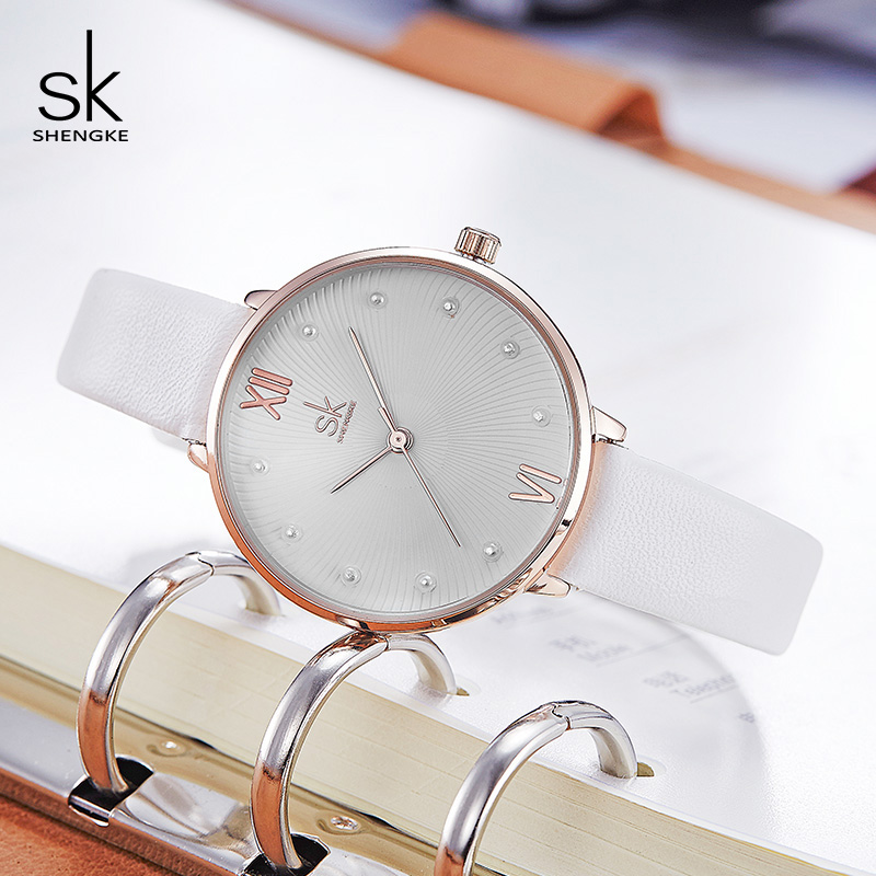 Shengke Creative Pearl Dial Women Quartz Watch White Leather Ladies Wrist Watch Reloj Mujer 2019 Women's Day Gift Watches #K8034