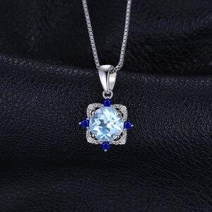 Image 3 - JewelryPalace doğal mavi Topaz kolye kolye 925 ayar gümüş taşlar gerdanlık bildirimi kolye kadınlar zinciri olmadan