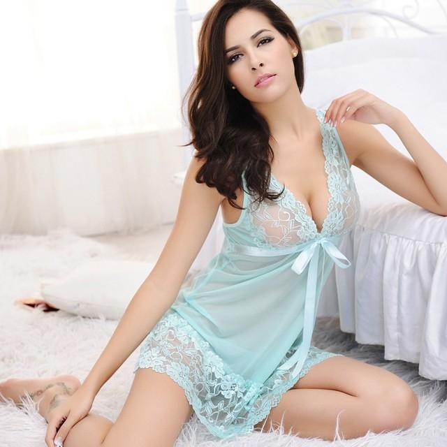 3efd5416ecd 2PCS Set Women Sexy Lace Nightgowns With G-String 2018 Girls Summer Solid  Night Dress Ladies Sleeveless Loose Sleepwear Nighties