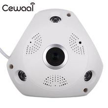 Cewaal HD 1.3MP Wi-Fi 360 VR панорамный Fisheye IP Камера Ночное видение Cam US/UK/АС Plug