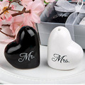 100pcs=50set Love Heart Mr & Mrs Ceramic Salt And Pepper Shaker Wedding Souvenirs Party favor Gift For Guest Wholesale ZA1226