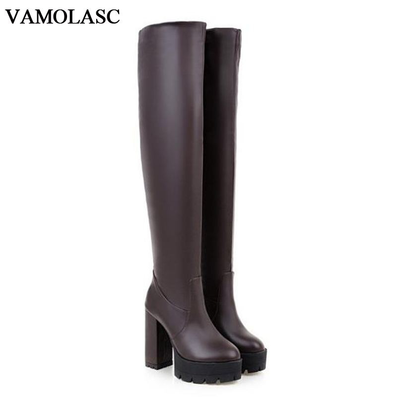 VAMOLASC New Women Autumn Winter Warm Leather Over the Knee Boots Square High Heel Boots Platform Women Shoes Plus Size 34-43 vamolasc new women spring autumn lace over the knee boots sexy thin high heel boots elegant platform women shoes plus size 34 42