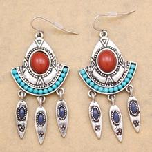 Tribal Vitnage Silver Etched Triangle Arrow Stone Concho Zuni Gypsy Dangle Earrings For Women Jewelry Brincos Tassel