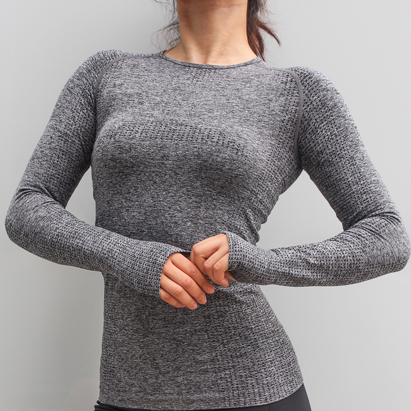 BESGO Solid Breathable Slim Yoga Top Seamless High Elastic Sport Long Sleeve Women Bodybuilding Workout Gym Fitness Shirt colorvalue hollow out sport shirts top women slim fit mesh yoga fitness top long sleeve high flexible solid gym workout jersey
