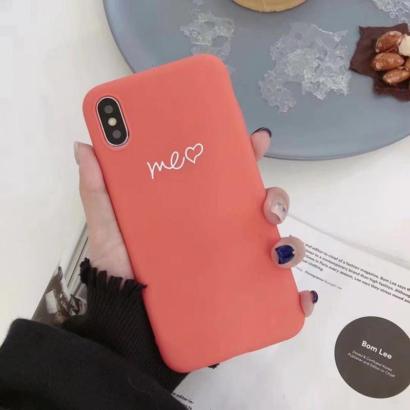 Cute Matcha green Couple Letter Me you Case For iPhone XS MAX XR X Case Soft Candy Phone Case For iPhone 7 8 6 S 6s plus cover (3)