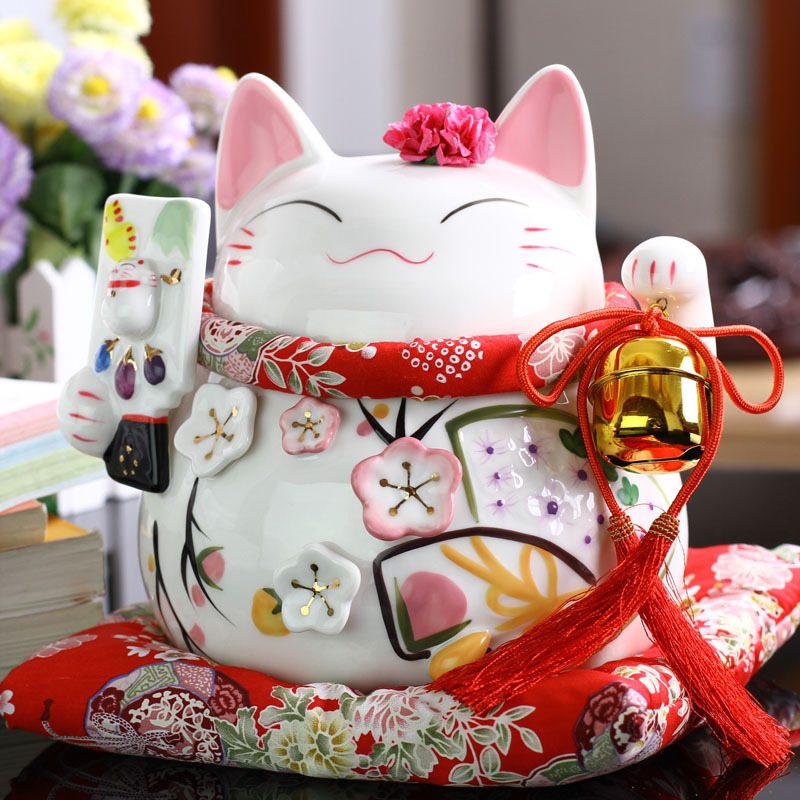 Décor à la maison belle chanceux chat Style tirelire économie d'argent boîte de stockage de pièces de monnaie Figurines décor à la maison cadeaux d'anniversaire