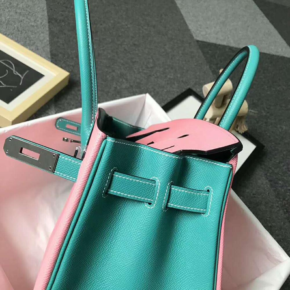 คุณภาพสูงสุภาพสตรีแฟชั่นกระเป๋าถือคลาสสิก 100% หนังยี่ห้อที่มีชื่อเสียง ladies hand made กระเป๋าถือ 35 ซม.-ใน กระเป๋าหูหิ้วด้านบน จาก สัมภาระและกระเป๋า บน   3