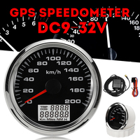 New 85mm GPS Speedometer 200km/h GPS Speedometer Gauge 9 32V Seven color backlight Motorcycle Marine Boat Buggy
