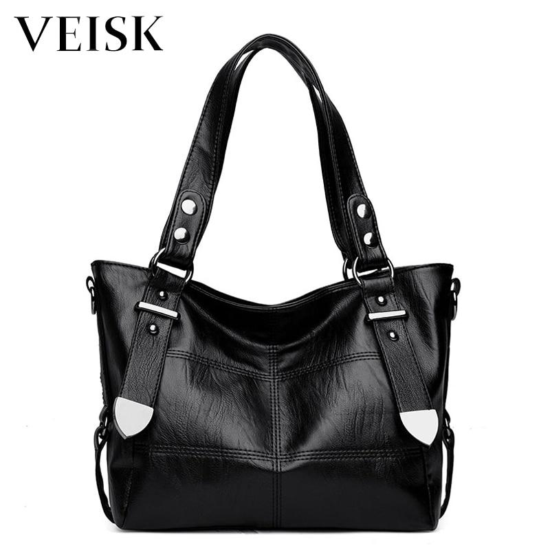VEISK Vintage Pu Leather Women Crossbody Bags Big Design Women Shoulder Bags Black Shoulder Strap Ladies Handbags 2018