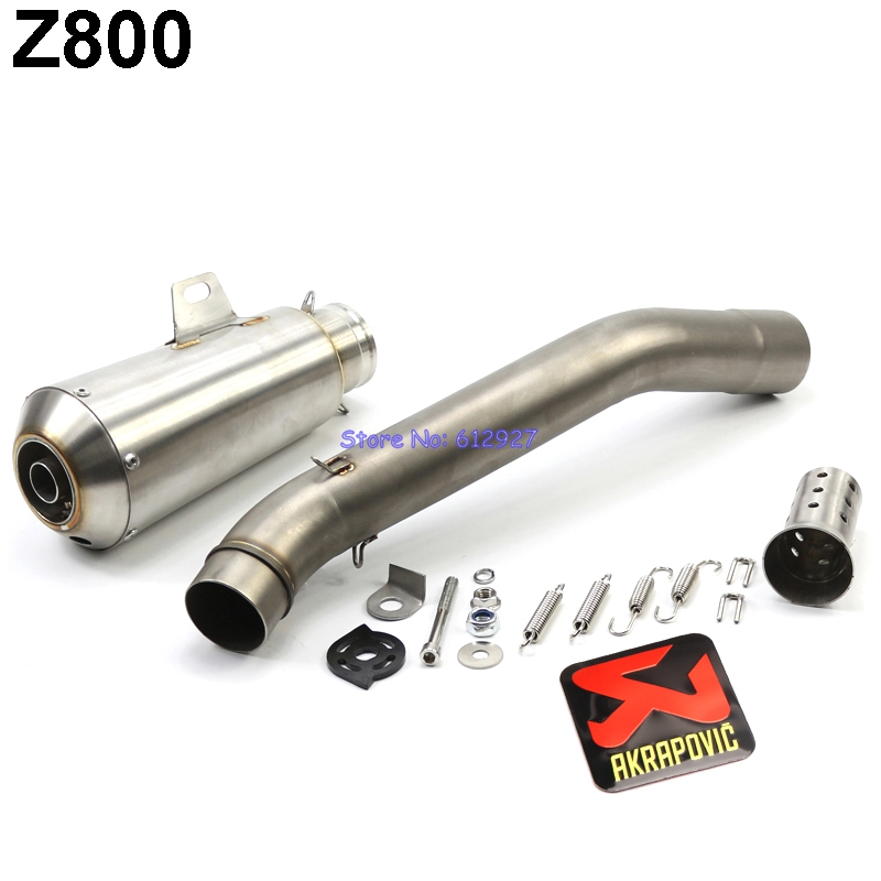 Motorcycle Z800 Slip On Exhaust System Muffler Pipe Motorbike Akrapovic Muffler Exhaust Escape and Mid Link Pipe with DB Killer