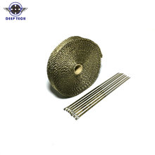15 m  Motorcycle Exhaust Wrap  Muffler Pipe Header Wrap Thermal Exhaust Tape With 6 Cable Locking Ties