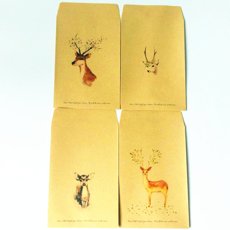 10pcs/lot Simple Style Cute Deer Series Kraft Paper Envelopes Kawaii Gift Envelope For Wedding Invitation Envelopes For Postcard