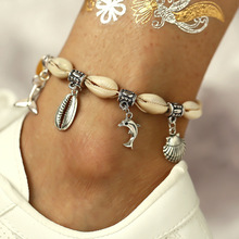 Retro Dolphin Fishtail Shell Pendant Chain Anklets for Women Summer Beach Bohemian Ankle Bracelets on Leg Foot Jewelry