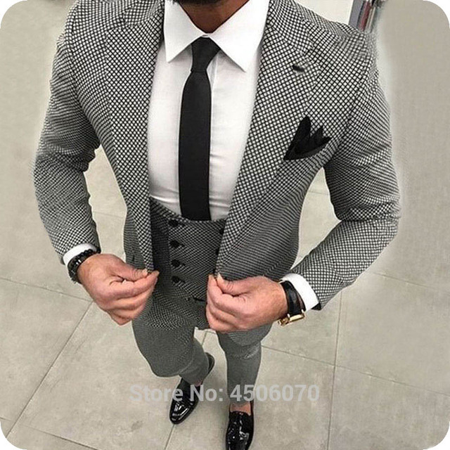 a0d52ef8b1 Houndstooth Men Suits White&Black Grid Plaid Jacquard Weave Mens Slim Fit  Casual Checkered Wedding Tuxedos 3Pieces Pied de poule