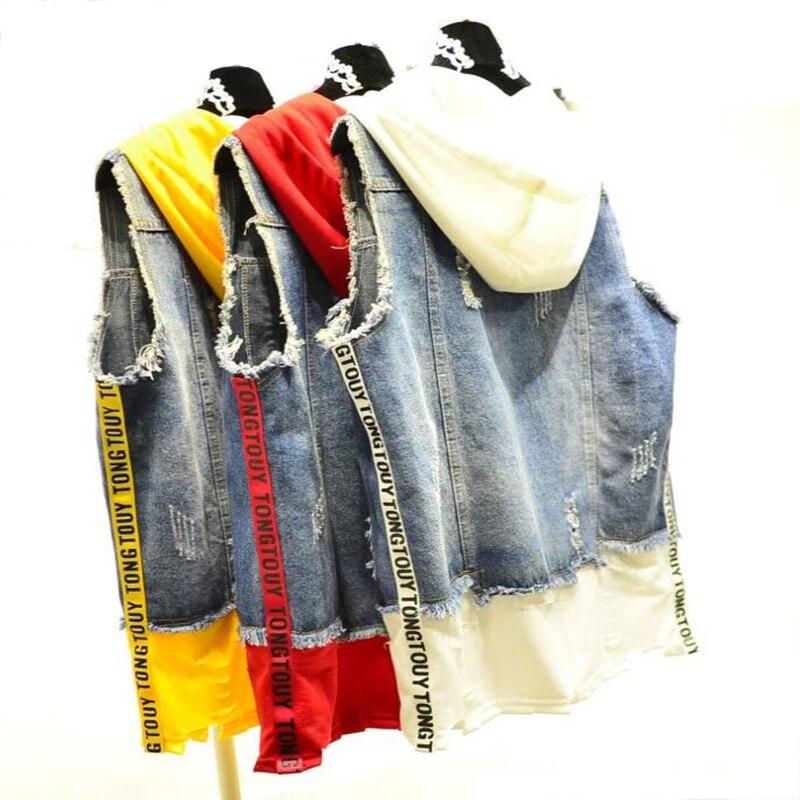 Spring Hooded Ribbon Jeans Vest Spliced Holes Women's Letter Printed Denim Vest Hoody Jeans Vests for Women Summer women's vest