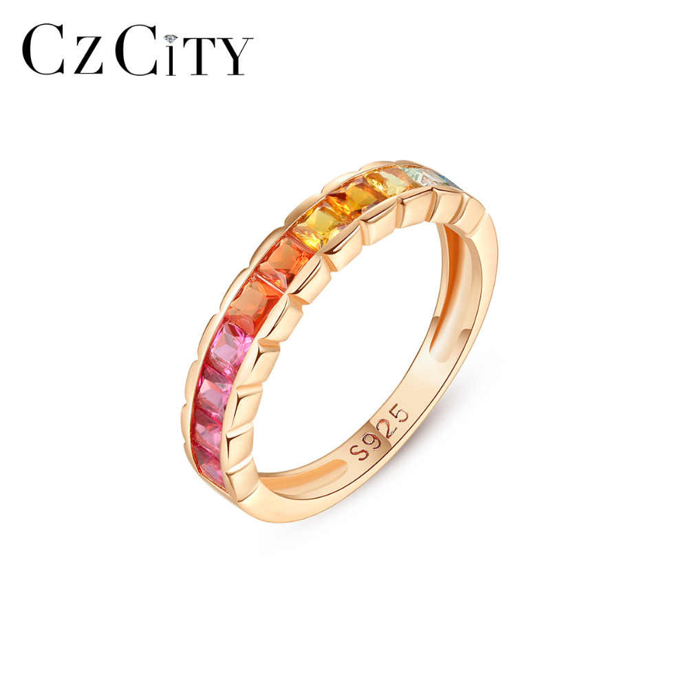 CZCITY New Pure 925 Sterling Silver Engagement Wedding Rings for Women Fine Jewelry Topaz Gemstone Eternity Bague femme SR0127-1