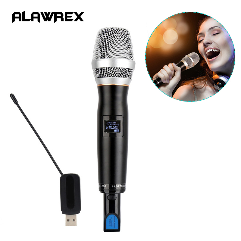 Alawrex AX-70 Pro UHF Wireless Handheld Vocal Microphone Audio Cable USB Charge, Dynamic Microphone Mic for Karaoke Recording 10ft usb 2 0 to 3pin xlr female mic microphone studio audio cable for nstruments recording karaoke singing connector cable 3m