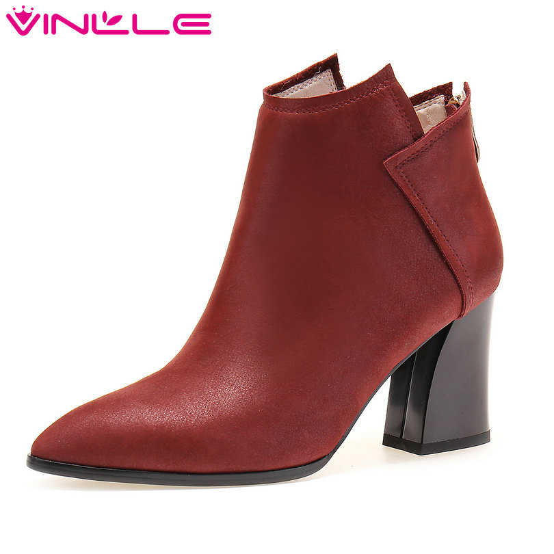 VINLLE 2018 Women Boots Shoes Western Style Ankle Boots Square High Heel Genuine Leather Ladies Motorcycle Shoes Size 34-39 vinlle women boot square low heel pu leather rivets zipper solid ankle boots western style round lady motorcycle boot size 34 43