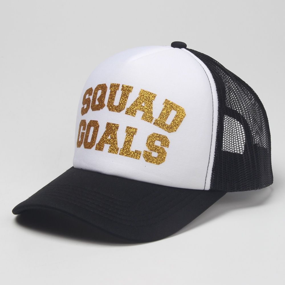 6b4b1661da0 DongKing Trucker Cap SQUAD GOALS Gold Glitter Print Top Quality Mesh Hat  Holiday Caps Snapback Women Gift Funny Hats By Hand-in Baseball Caps from  Apparel ...