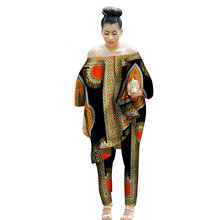 Dashiki African Clothes Women 2 Piece Set Cotton Print Wax Crop Top and Pants Good Sewing Suits