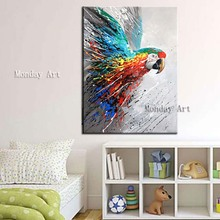 Whosale Hand Painted eagle Oil Picture Abstract Animal Painting on Canvas for Lving Room Wall Decor colorful